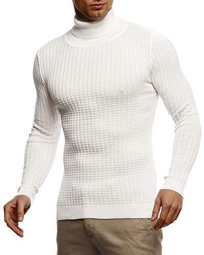 Leif Nelson Herren Strickpullover Warmer Pullover mit Rollkragen Rollkragenpullover für Männer Pulli für Winter Rolli LN2115 L Ecru