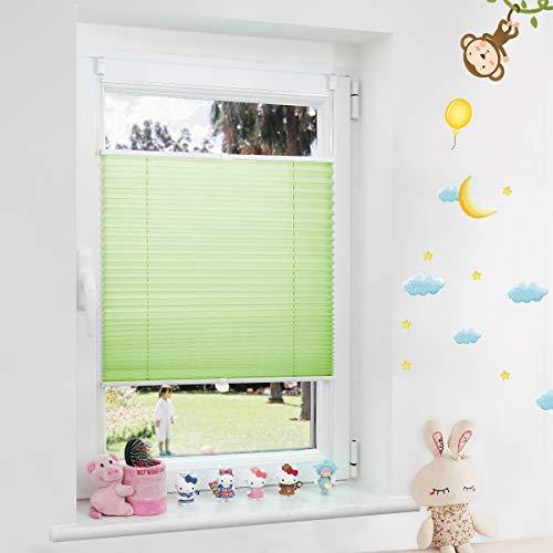 Grandekor Plissee Kinderzimmer Junge, Plisseerollo Jalousien Klemmfix ohne Bohren Sichtschutz & Sonnenschutz Schlafzimmer für Fenster & Tür - 80x120cm (BxH) Grün