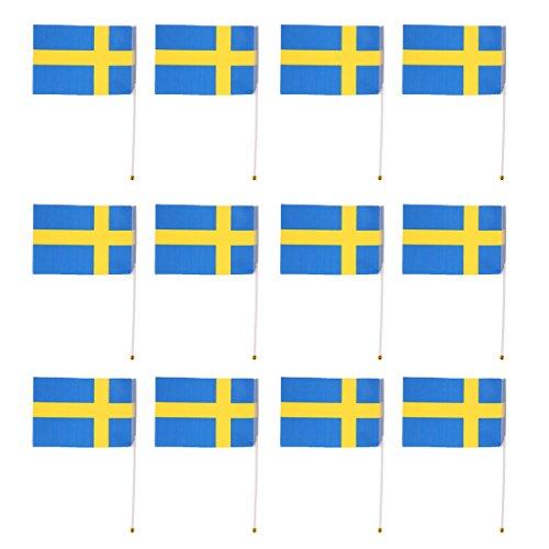 SM SunniMix 12 stuks Internationale vlaggetjes met vlaggetjes van witte kunststof, Zweden 14 x 21 cm