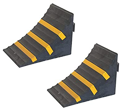"""SNS SAFETY LTD Rubber Wheel Chock, Heavy-Duty, with Handle, Blocks The Tires of Cars, Trailers, RVs, Trucks, Camper Vans and Caravans, Black with Yellow Strips, 10.0"""" L x 6.3"""" W x 7.3"""" H (Pack of 2)"""