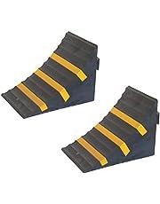 SNS SAFETY LTD RWC-1x2 Cuña para Ruedas de Coches, Goma Servicio Pesado, Amarillo Negro, Dimensiones 25 cm x 16 cm x 19 cm (Paquete de 2)
