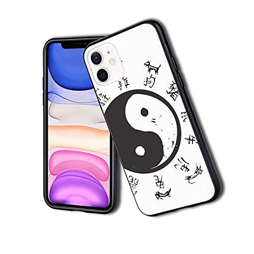 Yin and Yang Tao Símbolo de animales chinos y inscripción antigua, funda para teléfono para iPhone 11Pro, resistente a los golpes, protector de doble capa