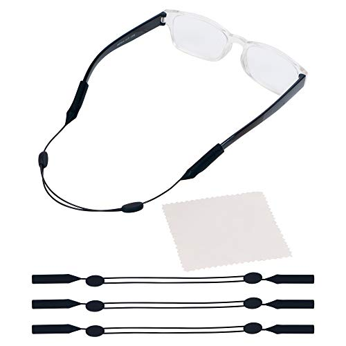 Adjustable Eyeglass Strap (3 Pack) - No Tail Sunglass Strap - Eyewear String Holder - With Bonus Glasses Cleaning Cloth - 3 Pack