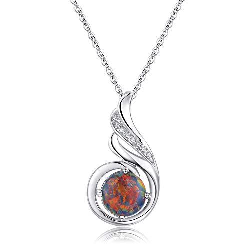 Sterling Silber phönix halskette Opal Schmuck für Frauen Mädchen Anweisung Halskette Geburtstagsgeschen (Black)