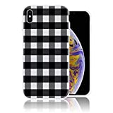 Silicone Case for iPhone XR, Black and White Buffalo Plaid Personalized Design Printed Phone Case Shockproof Full Body Protection Anti-Scratch Drop Protection Cover