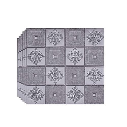 LICHAO Paneles de pared de ladrillo de espuma Dormitorio Decoración de lujo Espuma 3D Papel tapiz Peel and Stick Simulación Cerámica Azulejo Agotación Agotación Decorativa Cocina Backsplash Cubre 70 *