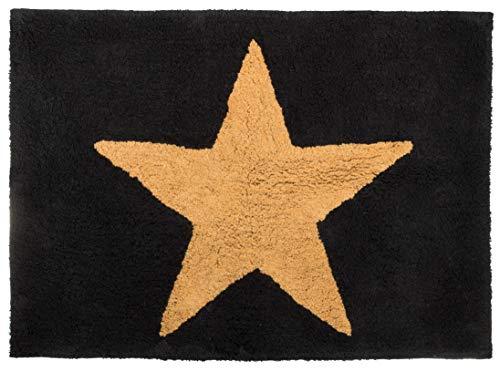 Brandsseller Alfombrilla de baño (90 x 62 cm), diseño de estrella, color negro y beige
