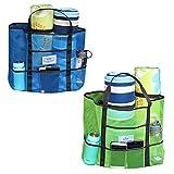 QSXX Lavable Bolsa de la Playa 2 PCS Bolsa Grande de Malla Diseño Multibolsillos para Viajes, Camping, Uso en la Playa Guarde Vasos de Agua, Paraguas, Ropa, Zapatos, etc Se Puede Reutilizar
