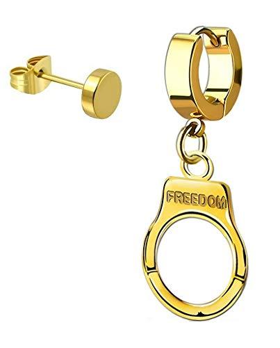 iJewelry2 Pendientes de aro con diseño de esposas colgantes de acero inoxidable en tono dorado