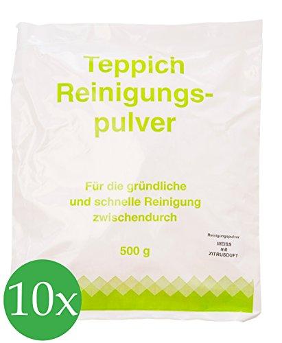 Vorratspackung 10x Teppichreinigungspulver geeignet für Vorwerk Teppichreiniger mit Zitrusduft 5000 Gramm für ca.200qm unbegrenzte Haltbarkeit
