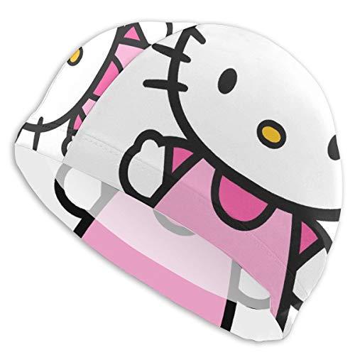 CHLING Gorro de natación Hello Kitty para Mujeres y Hombres, Pelo Corto y Licra