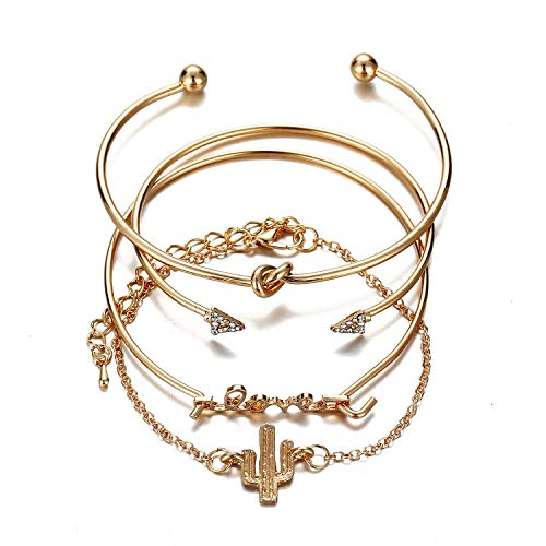 MGMDIAN European and American women's hand ornaments, cactus Bracelet triangle knot love bracelet combination set four sets of Bracelet accessories