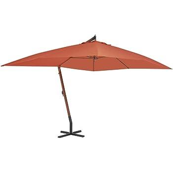 SOULONG - Sombrilla de inclinación con Poste de Madera, sombrilla de jardín de balancín Cuadrado de 400 x 300 cm, sombrilla de Playa o Piscina para terraza y Exterior, Arancione: Amazon.es: Jardín