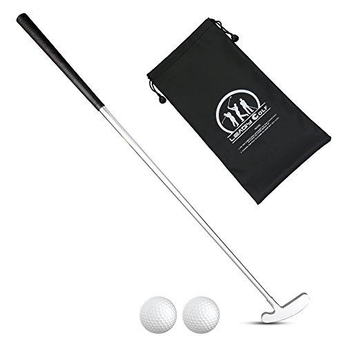 LEAGY Putter para golfistas diestros o zurdos, 2 pelotas de golf blancas y 4 piezas de aleación de zinc blanco y bolsas de golf portátiles de color negro, Left and Right