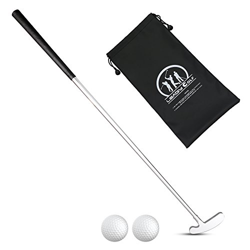 LEAGY 4-Sections Portable Best Two-Way Putter - Left and Right Hand - 2 Golf Balls Isolated On White Background - 1Pack Golf Bag