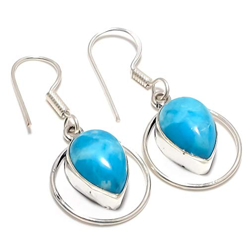 Blue Dyed LARIMAR! Shiny EARRING 1.75' Long, WATER DROP! Silver Plated, HANDMADE Art Jewelry! Best Variety Store