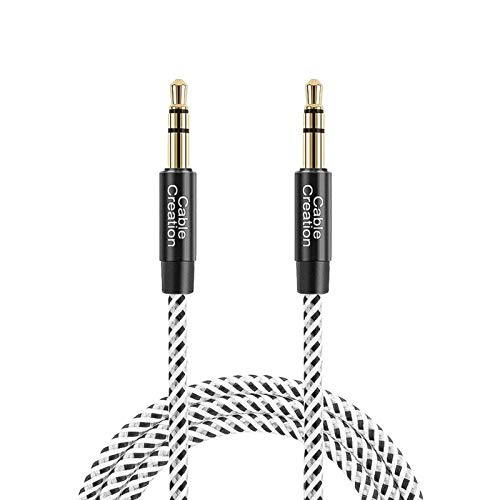 3 Feet Aux Cable,CableCreation 3.5mm Male to Male Auxiliary Audio Stereo Cord Compatible with Car,Headphones, iPods, iPhones, iPads,Tablets,Laptops,Android Smart Phones& More, 1M /Black & White