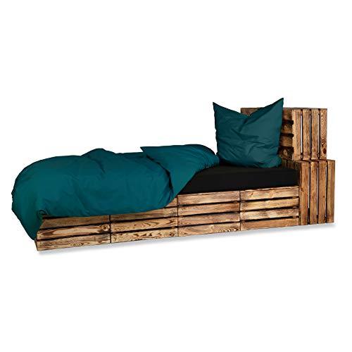 Baumwolle Renforce Bettwäsche UNI 2-4 teilig 135x200 + 80x80 cm mit Reißverschluss - in 16 modernen Farben - 4 tlg. Set 2x 135x200 + 2x 80x80 cm Baumwolle Renforcé Bettwäsche Uni - Deep Ocean