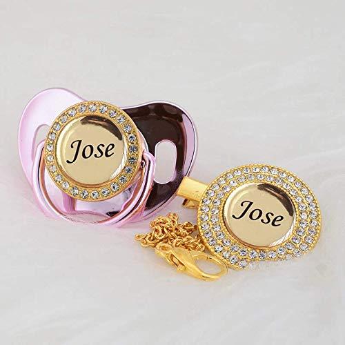 Chupete personalizable de lujo + clips para chupete (metal rosa 0-6 m)