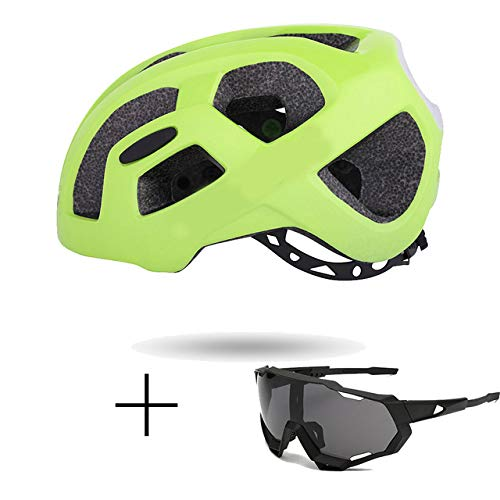 Casco Bicicleta SFBBAO Adulto Niño Ultralight Rainproof City Road Mountain para Hombres Racing Spare Bike 55-60cm Gafas Plus