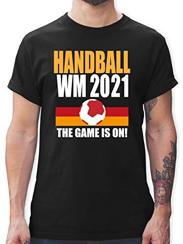 Handball WM 2021 - Handball WM 2021 The Game is on! - L - Schwarz - Teamsport - L190 - Tshirt Herren und Männer T-Shirts