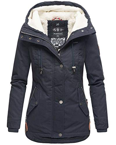 Marikoo warme Damen Winter Jacke Teddyfell gefütterte Winterjacke B802 [B802-Bik-Navy-Gr.L]