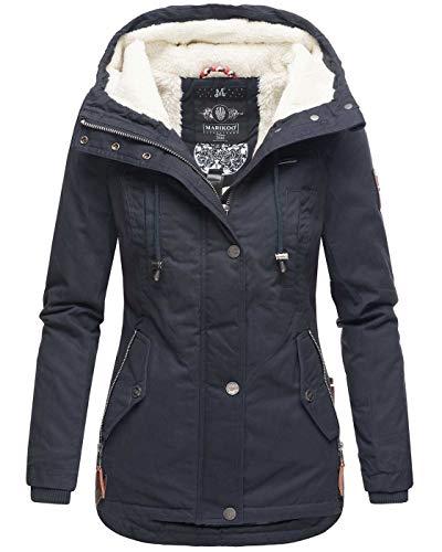 Marikoo warme Damen Winter Jacke Teddyfell gefütterte Winterjacke B802 [B802-Bik-Navy-Gr.XXL]