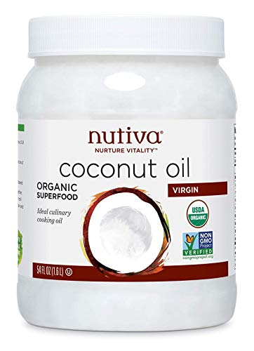 Nutiva Organic Cold-Pressed Virgin Coconut Oil, 54 Fluid Ounce | USDA Organic, Non-GMO, Fair Trade | Vegan, Keto, Paleo | Fresh Coconut Flavor and Aroma for Cooking & Healthy Skin and Hair