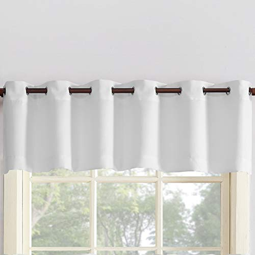 "No. 918 Montego Kitchen Curtains, 56"" x 14"" Valance, White"