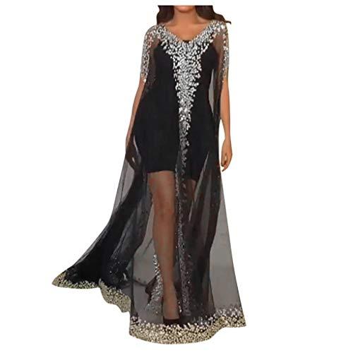 Vestido de mujer, ropa informal, para invierno, manga larga, sudadera, vestido midi informal, manga corta, lentejuelas, traje de malla de dos piezas, vestido largo