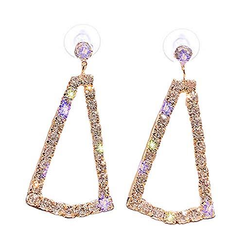 Yosemite - Pendientes de lazo personalizados para mujer, diseño de triángulo hueco geométrico, colgante de gota con estilo de oreja de gota de oro rosa