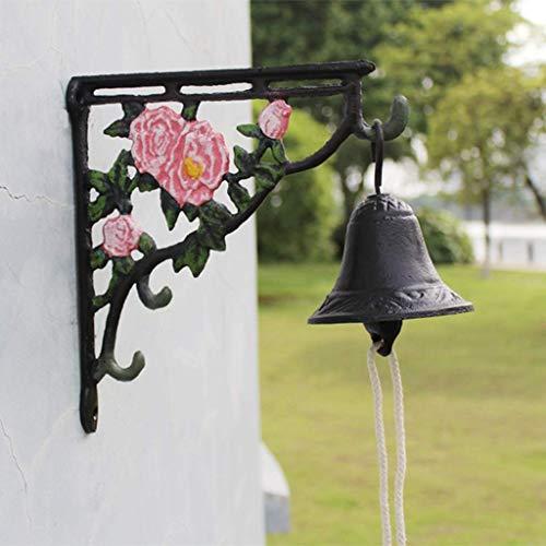 Riyyow Peony de Hierro Portero en Forma de Flor Vintage Jardín Patio Puente de fundición Arte Doorbell Hand Bell 24.5x9.7x22cm