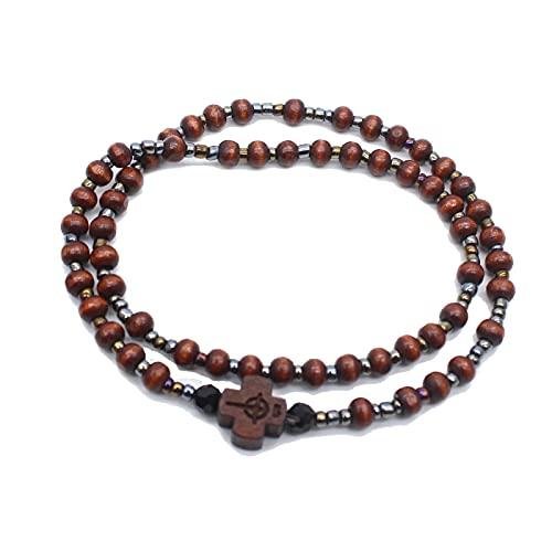 59 Mini pulsera rosarios cruz católica de madera collar de cuentas de oración por cuerda elástica longitud 18 cm