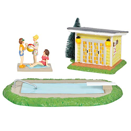 Department 56 Original Snow Village National Lampoon's Christmas Vacation Pool Fantasy Lit Building and Figurine Set, 3 Inch, Multicolor
