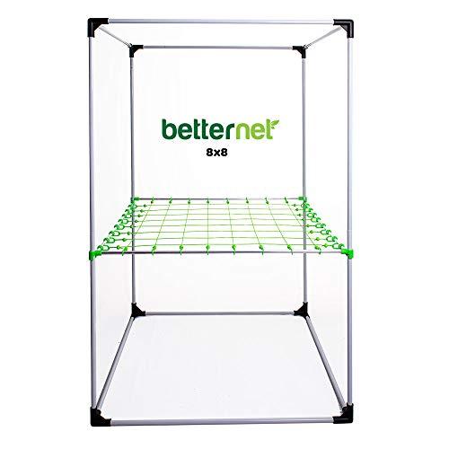 growber Betternet 8x8 Scrognetz für 16mm Zeltstangen Grow Box Netz + Fixture Poles für jedes Growzelt bis 120x120cm - Ranknetz - Planznetz