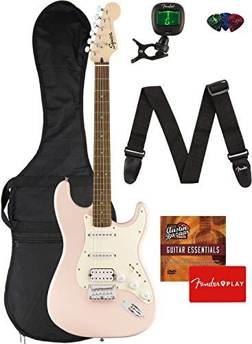 Fender Squier Bullet Stratocaster HSS Hard Tail, Laurel Fingerboard, Shell Pink Bundle with Gig Bag, Tuner, Strap, Picks, Fender Play Online Lessons, and Austin Bazaar Instructional DVD