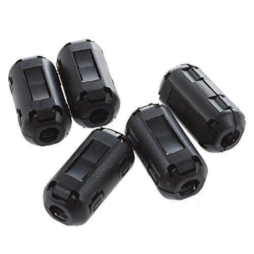 SODIAL(R) 5 Piezas De Supresor De Filtro De Nucleo De Ferrita De Ruido Negro Para Cable De Diametro De 4 mm