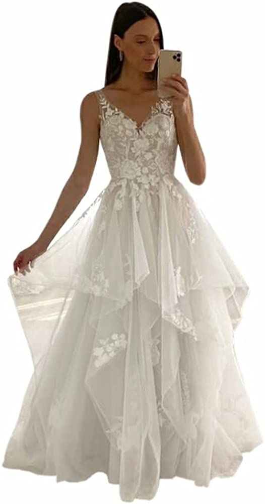 ElenaDressy Women's V-Neck Sleeveless Lace Appliques Wedding Dress Long Ruffle Tulle Beach Bridal Gowns
