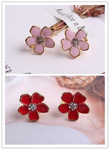 AQUALITYS Clip Smalto a Forma di Fiore Stile Coreano su Orecchini Senza Piercing per Ragazze Party Clip Adorabile dell'orecchio Adorabile-RosaRosso