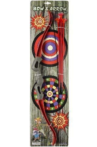 wuselwelt 1570, stabiles Pfeil und Bogen Set 55 cm mit 3 Pfeilen und 2 Zielscheiben, Bogenset, Pfeilset, Spielset, Sparset, Bogenschießen