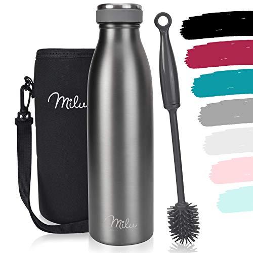 Milu Termo Botella de Agua 500ml, 750ml, 1l - Acero Inoxidable - Aislamiento de Vacío de Doble Pared - Libre BPA (Gris, 500ml)