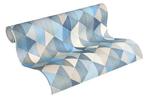 A.S. Création Papel pintado Scandinavian 2 de fieltro, diseño geométrico, 10,05 m x 0,53 m, color azul, marrón y gris, fabricado en Alemania 367863 36786-3