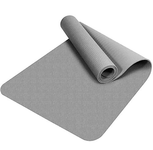 Good Times Yogamatte, Gymnastikmatte, Unterlegmatten, rutschfest, TPE, umweltfreundlich, hypoallergen, hautfreundlich, SGS geprüft, Fitnessmatte, Sportmatte, mit Tasche&Trageband, 183x61x0,8cm (Grau)