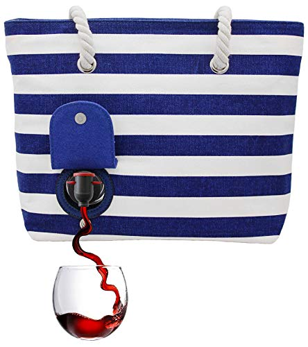 PortoVino Beach (Blue & White) - Beach Tote with Hidden, Insulated Compartment, Holds 2 bottles of Wine! / Great Gift! / Happiness Guaranteed!