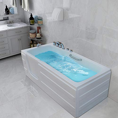 Mecor Walk-in Whirlpool Bathtub , Rectangular Soaking Bathtub,Left Intward Opening Door and Left Drain, 61'' x 30'' x 24'' , White