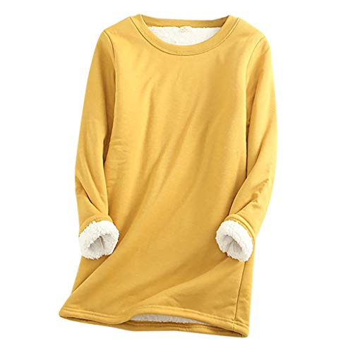 VJGOAL Women Blouse Thick Thirt Sweatshirt Winter Warm Hoodies Underwear Top Yellow