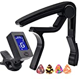Capo,Guitar Capo Black with Guitar Tuner Clip-On Tuner for Acoustic Electric Ukulele Guitar and More