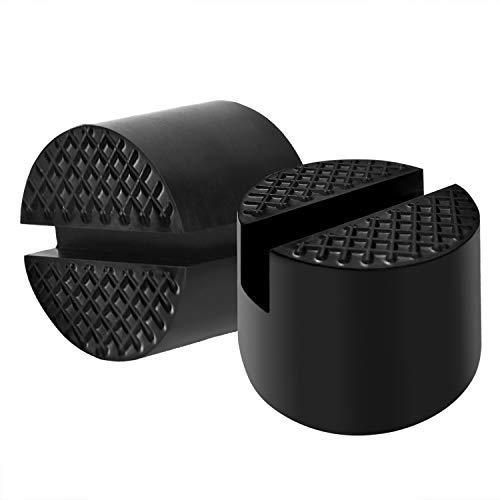 2 Pezzo Universale Tampone Martinetto idraulico in Gomma per Cric Sollevatore Auto Ponte con Scanalatura Spessori,Resistere a 3 Tonnellate, 48 mm di Diametro (nero)