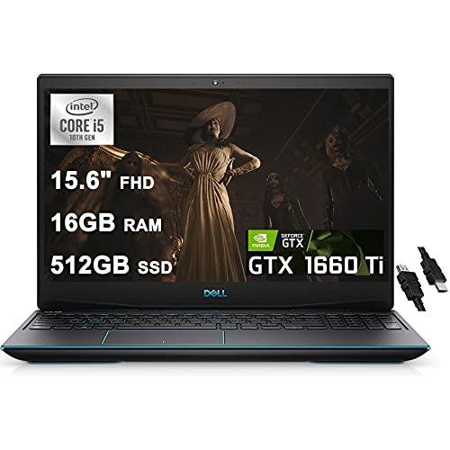 Dell 2020 Flagship G5 15 Gaming Laptop 15.6' FHD 10th Gen Intel 4-core i5-10300H (Beat I7-8850H) 16GB RAM 512GB SSD GeForce GTX1660 Ti 6GB Backlit Thunderbolt Webcam Win10 + iCarp HDMI Cable