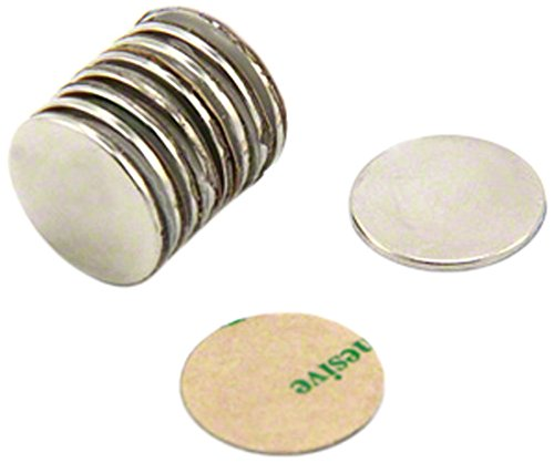 First4magnets F309NA-10 zelfklevende 15 mm diameter X 1 mm N42 neodymium magneten - 1,1 kg trekken (pak van 10), zilver, 25 x 10 x 3 cm, stuks